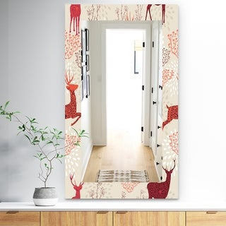 Designart 'Patterned Christmas Deers' Traditional Mirror - Frameless Wall Mirror - Brown
