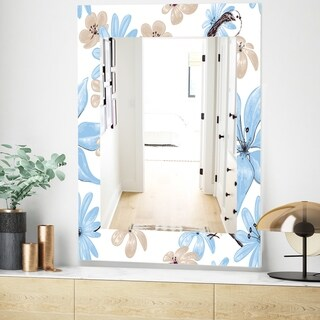 Designart Drawing Of Blue Flowers With Little Bird Traditional Mirror - Frameless Wall Mirror (23.6 in. wide x 35.4 in. high)