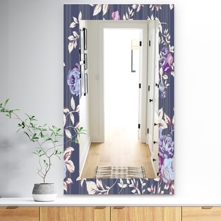 Designart Blue Roses Traditional Mirror - Frameless Wall Mirror - Purple (27.5 in. wide x 47.4 in. high)