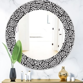 Designart 'Black & White 3' Modern Mirror - Frameless Contemporary Oval or Round Wall Mirror - Black