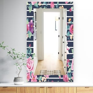 Designart 'Pink Blossom 33' Traditional Mirror - Frameless Wall Mirror - Purple