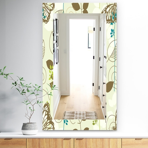 Designart 'Vintage Blue Butterfly On Brown Leaves' Traditional Mirror - Frameless Wall Mirror