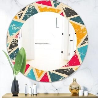 Designart 'Triangular Colourfields 29' Modern Mirror - Frameless Oval or Round Wall Mirror - Gold