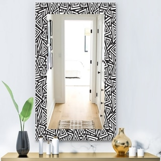 Designart 'Black & White 3' Modern Mirror - Frameless Contemporary Wall Mirror - Black