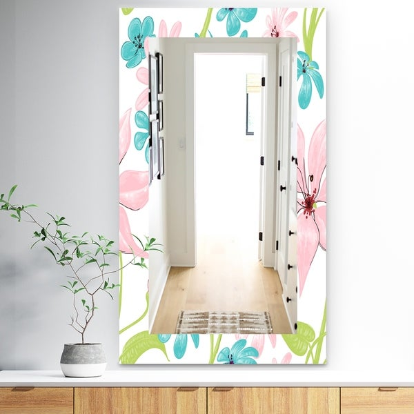 Designart 'Pink Blossom 32' Traditional Mirror - Frameless Wall Mirror - Pink