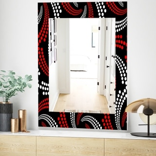 Designart Obsidian Impressions 7 Bohemian and Eclectic Mirror - Frameless Vanity Mirror - Red (23.6 in. wide x 35.4 in. high)
