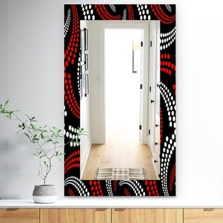 Designart 'Obsidian Impressions 7' Bohemian and Eclectic Mirror - Frameless Vanity Mirror - Red