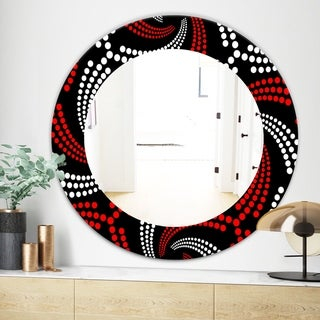 Designart Obsidian Impressions 7 Bohemian and Eclectic Mirror - Frameless Oval or Round Wall Mirror - Red (31.5 in. wide x 31.5 in. high - Round)