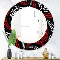 Designart 'Obsidian Impressions 7' Bohemian and Eclectic Mirror - Frameless Oval or Round Wall Mirror - Red
