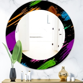 Designart 'Obsidian Impressions 6' Bohemian and Eclectic Mirror - Frameless Oval or Round Wall Mirror - Purple