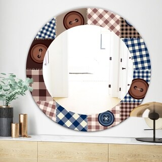 Designart Buttons On Squared Patchwork Traditional Mirror - Frameless Oval or Round Wall Mirror - Brown (Round - 31.5 in. wide x 31.5 in. high)