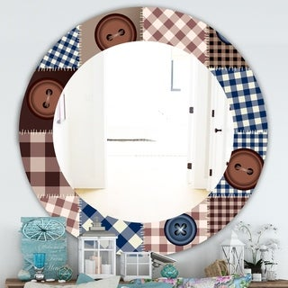 Designart 'Buttons On Squared Patchwork' Traditional Mirror - Frameless Oval or Round Wall Mirror - Brown