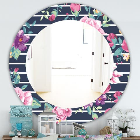Designart 'Pink Blossom 33' Traditional Mirror - Frameless Oval or Round Wall Mirror - Purple