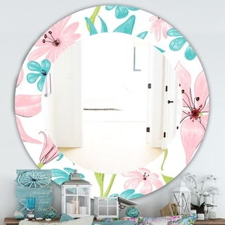Designart 'Pink Blossom 32' Traditional Mirror - Frameless Oval or Round Wall Mirror