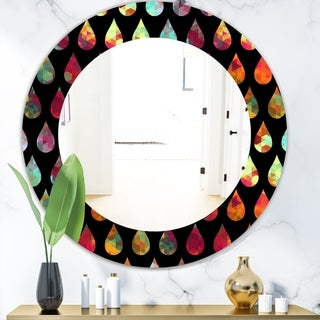 Designart 'Obsidian Impressions 8' Modern Mirror - Frameless Oval or Round Wall Mirror - Red
