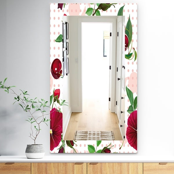 Designart 'Pansies Cherries and Roses On Pink Dotted' Traditional Mirror - Frameless Wall Mirror