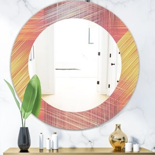 Designart 'Yellow and Pink Striped Pattern' Modern Mirror - Frameless Oval or Round Wall Mirror