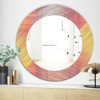 Designart Yellow and Pink Striped Pattern Modern Mirror - Frameless Oval or Round Wall Mirror (Round - 31.5 in. wide x 31.5 in. high)