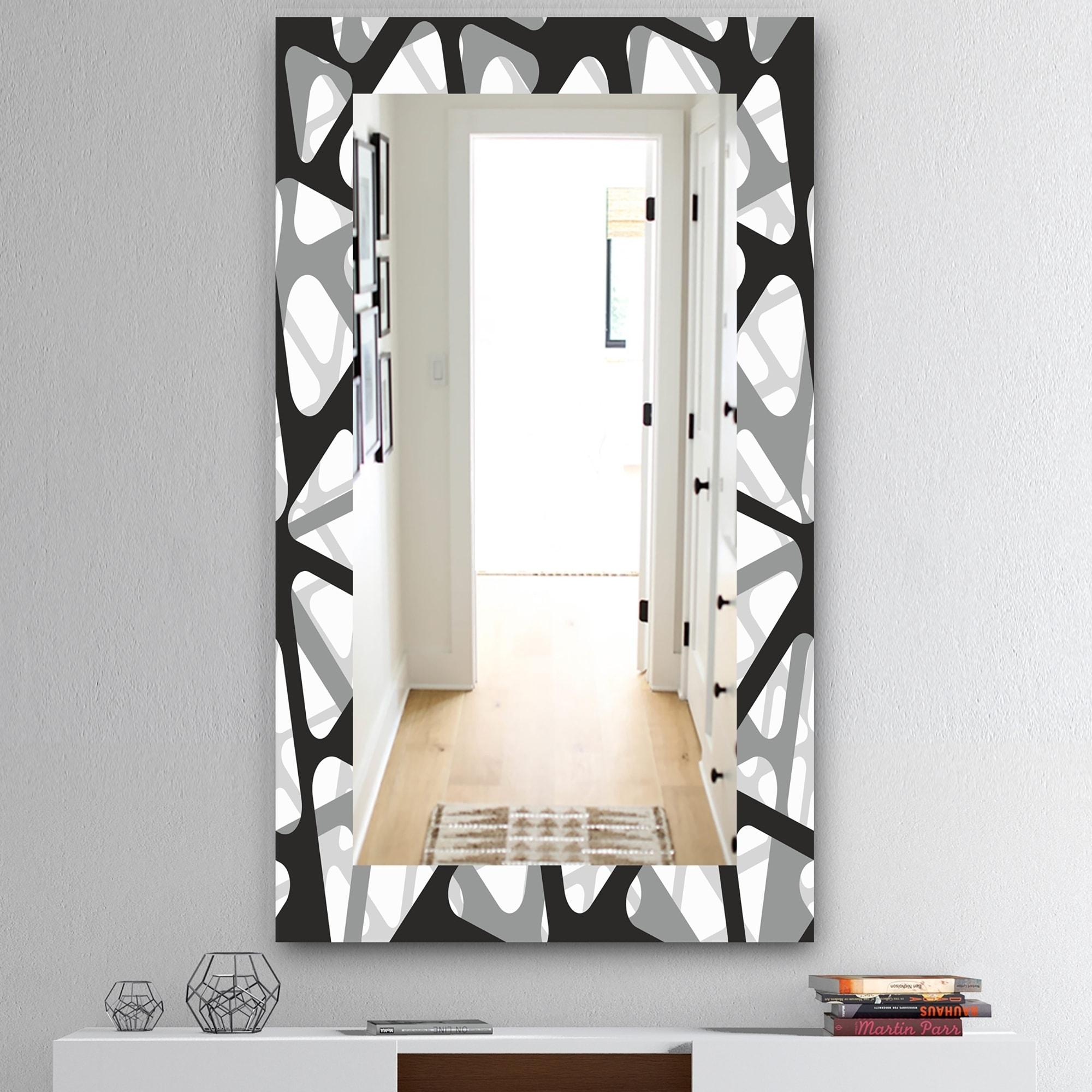 Designart Black White 4 Mid Century Modern Mirror Frameless Wall Mirror Black