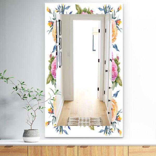 Designart 'Pink Blossom 34' Traditional Mirror - Frameless Wall Mirror - Pink