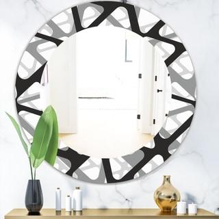 Designart 'Black & White 4' Mid-Century Modern Mirror - Frameless Oval or Round Wall Mirror - Black