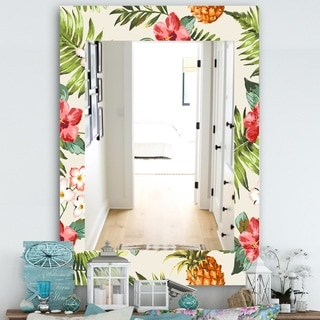 Designart Tropical Mood Pineapple 7 Bohemian and Eclectic Mirror - Frameless Wall Mirror - Green (29.5 in. wide x 39.4 in. high)