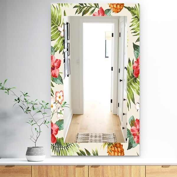 Designart 'Tropical Mood Pineapple 7' Bohemian and Eclectic Mirror - Frameless Wall Mirror - Green