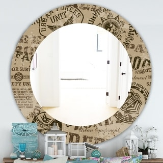 Designart 'Military Badges Vintage' Traditional Mirror - Frameless Oval or Round Wall Mirror - Brown