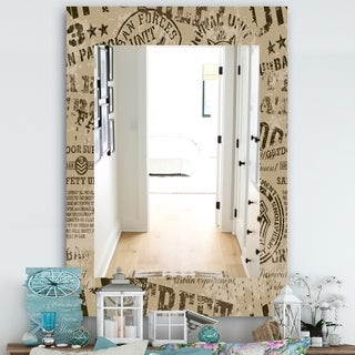 Designart Military Badges Vintage Traditional Mirror - Frameless Vanity Mirror - Brown (29.5 in. wide x 39.4 in. high)