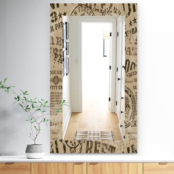 Designart 'Military Badges Vintage' Traditional Mirror - Frameless Vanity Mirror - Brown