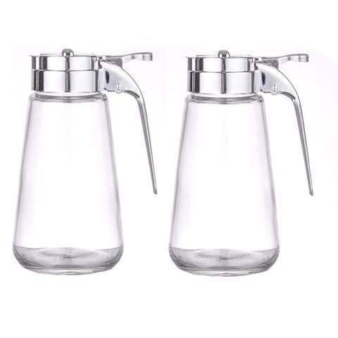 Set of 2 Honey/Cream/Sugar/Syrup Glass Dispensers with Retracting Spout Restaurant Pancake House Style with 10 oz