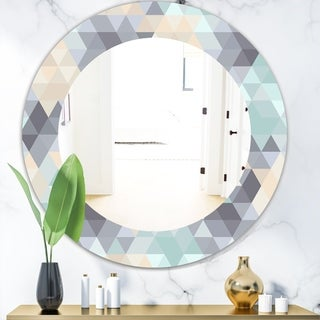Designart 'Triangular Colourfields 28' Modern Mirror - Oval or Round Wall Mirror