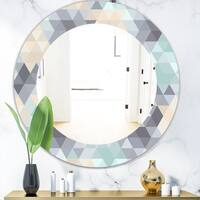 Designart 'Triangular Colourfields 28' Modern Mirror - Oval or Round Wall Mirror