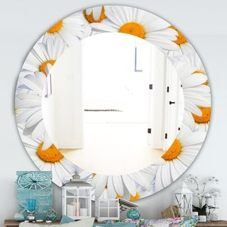 Designart Daisy Hearts Close Traditional Mirror - Frameless Oval or Round Wall Mirror - Gold (Round - 39.4 in. wide x 39.4 in. high)