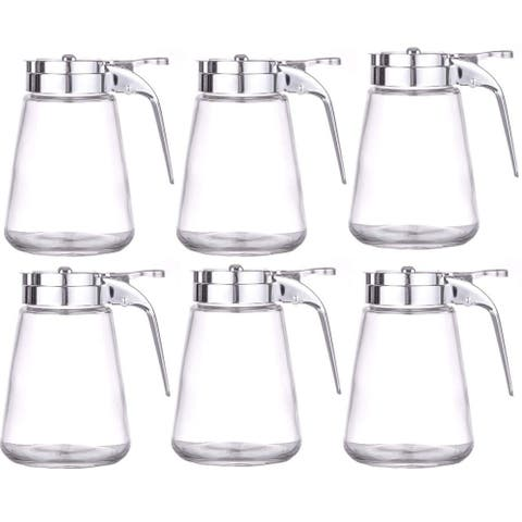 Set of 6 Honey/Cream/Sugar/Syrup Glass Dispenser Retracting Spout Restaurant Pancake House Style with 10 oz.