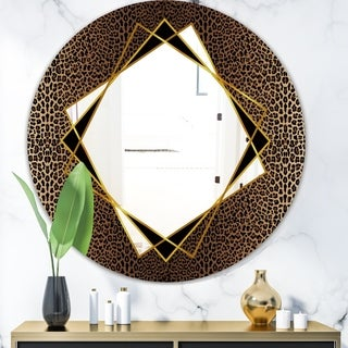 Link to Designart 'Leopard 6' Glam Mirror - Round Wall Mirror - Gold Similar Items in Mirrors