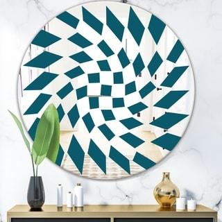 Designart 'Triangular Diamond Whirl 1' Mid-Century Mirror - Oval or Round Wall Mirror - Blue