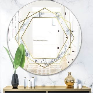 Designart 'Marbled Diamond 1' Mid-Century Mirror - Oval and Circle Wall Mirror - Gold