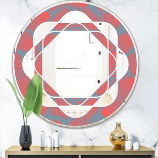 Designart 'Pink and Blue Lines' Mid-Century Mirror - Oval or Round Wall Mirror - Red