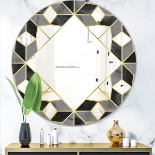 Designart 'Triangular Diamond Universe 2' Mid-Century Mirror - Oval or Round Vanity Mirror - Black