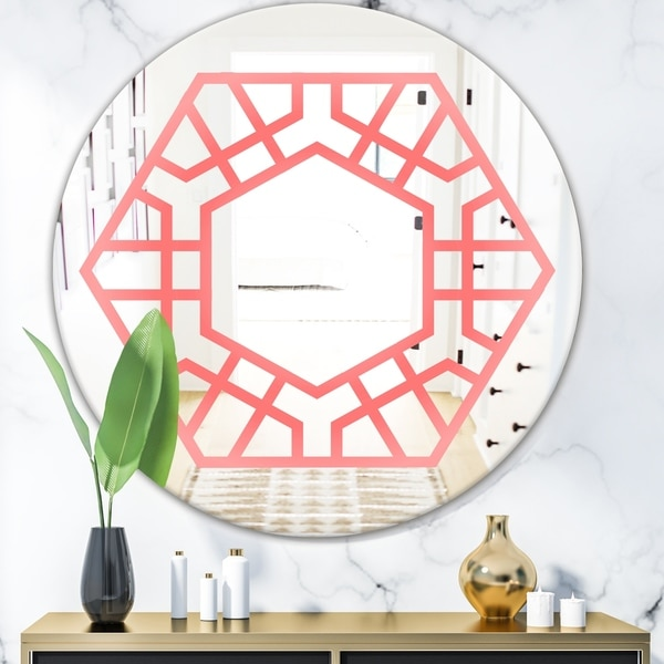 Designart 'Hexed' Modern Mirror - Contemporary Oval or Round Wall Mirror - Pink