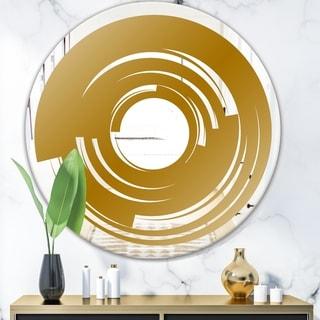 Designart 'Golden Vortex' Glam Mirror - Oval or Round Wall Mirror - Gold