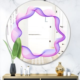 Designart 'Abstract Round Purple' Modern Mirror - Contemporary Oval or Round Wall Mirror - Purple