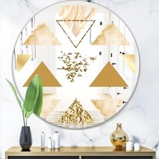 Designart 'Capital Gold Diamond 1' Mid-Century Mirror - Oval or Round Wall Mirror
