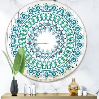 Designart 'Blue Mandala' Bohemian and Eclectic Mirror - Oval or Round Wall Mirror - Blue
