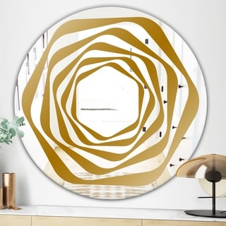 Designart Geometric Mandala In Gold and White Glam Mirror - Oval or Round Wall Mirror (31.5 in. wide x 31.5 in. high - Round)
