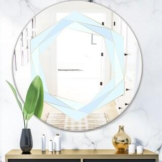 Designart 'Pastel Dreams 8' Mid-Century Mirror - Oval or Round Wall Mirror - Blue