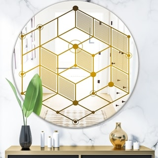 Designart 'Capital Gold' Glam Mirror - Oval or Round Wall Mirror - Gold