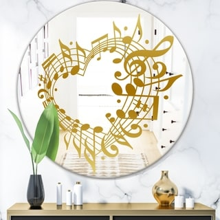 Designart 'Music Notes I' Glam Mirror - Oval or Round Wall Mirror - Gold