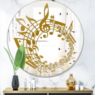 Designart 'Music Notes II' Glam Mirror - Oval or Round Wall Mirror - Gold